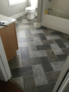 Armstrong Alterna Luxury Vinyl tile on herringbone pattern